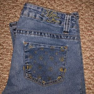 Y2k Mecca femme low rise jeans with gold stamping